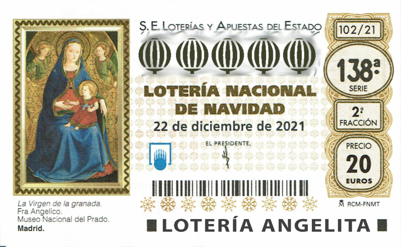 Décimos del Sorteo Extraordinario de Navidad 2021. Décimo de Navidad 2021 de Lotería Nacional